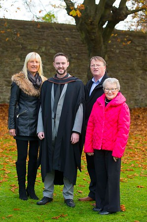 04/11/2016. Waterford Institute of Technology (WIT) Conferring Ceremonies November 2016. Pictured is Joe Tubritt from Tramore who graduated BSc (Hons) in Applied Electronics, Also pictured are Sue McCormack, John Tubritt and Freda Nuttall. Picture: Patrick Browne