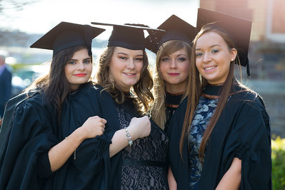 01/11/2017. Waterford Institute of Technology Conferring. Pictured are Maureen Piggott, Kerry, Aisling Scahill, Kilkenny, Katie Shalloe, New Ross, Megan O'shaughnessy Cork who graduated Bachelor of Law (Honours). Picture: Patrick Browne