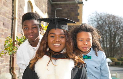 01/11/2017. Waterford Institute of Technology Conferring are Michealla Itaire from Dublin, originally from Nigera who graduated Ba Sons in Legal Studies,  Michealla is pictured with her cousins Tyrese and Samuel Itaire. Picture: Patrick Browne