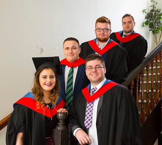 1/11/2017 Waterford Institute of Technology conferring ceremony. Higher certificate in Arts in Legal Studies. From right; Padraig Bollard Kilmeaden Waterford, Clodagh Downs Wexford, Lee Roche Carric On Suir Tipperary, Conor Cullen Curracloe Wexford and Conor Walsh Waterford.Photo;Mary Browne