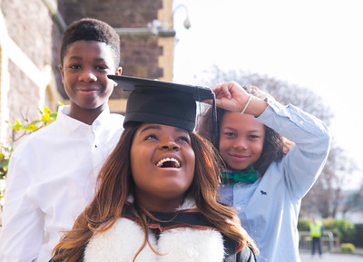 01/11/2017. FREE TO USE IMAGE. WIT (Waterford Institute of Technology) Conferring, Waterford City are Michealla Itaire from Dublin, originally from Nigera who graduated Ba Sons in Legal Studies,  Michealla is pictured with her cousins Tyrese and Samuel Itaire. Picture: Patrick Browne