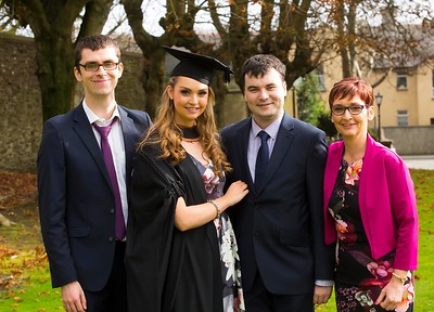 1/11/2017 Waterford Institute of Technology conferring ceremony. Aisling Doyle from Ballykelly, Co.Wexford graduating with a Batchelor of Arts (Honours) in Early Childhood Studies photographed with her brother Eoin, boyfriend Phil Erskine and mother Maisie. Photo;Mary Browne