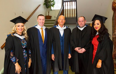 1/11/2017 Waterford Institute of Technology conferring ceremony. Batchelor of Arts in Applied Social Studies in Social Care. From left; Linda Malone New Ross, Ian Barry Waterford, Gary Murphy Moincoin, Fr Robert Grant Waterford and Carly Daly Waterford.Photo;Mary Browne