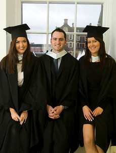 """4/1/2012. News. Waterford Institute of Technology (WIT), conferring ceremony. From Left, Ciara Mitchell, Wexford, Oisin Nally, Wicklow and Niamh McGuire Laois all who graduated in Bachelor in Business. Photo Patrick Browne  Upbeat mood at WIT's conferring ceremonies  An optimistic note has been signaled by Mr Tony McFeely, Acting President of Waterford Institute of Technology (WIT), at the first of 11 conferring ceremonies across three days during which 2,652 students were conferred with academic degrees up to doctorate level.  In his conferring address, Mr McFeely said: """"We cannot ignore the dark economic clouds that have surrounded the country for the past few years. Job opportunities are not as readily available as they once were. However, your academic achievements should instill a sense of self-confidence. I would encourage you to remain positive and optimistic despite the general gloom. These times will pass; they always do.""""  """"We Irish are a resilient people; you are the potential leaders of the future so it's incumbent on you to remain strong and positive,"""" continued Mr McFeely. He urged today's graduates to remember the words of Apple founder Steve Jobs at a Stanford graduation in 2005: """"Your time is limited, so don't waste it living someone else's life. Don't be trapped by dogma, which is living with the results of other people's thinking. Don't let the noise of others' opinions drown out your own inner voice. And most important, have the courage to follow your heart and intuition.""""  WIT's Chairman, Dr Donie Ormonde, continued the positive theme in his remarks: """"In the modern economy skills and competencies are the tradable commodities that enhance your life experiences and enhance the creative edge of economic and social development. Ireland's capacity to bounce back is directly related to the education and skills infrastructure that it has built. Ireland is an international leader in educational attainment and it is this that will provide the stepping st"""