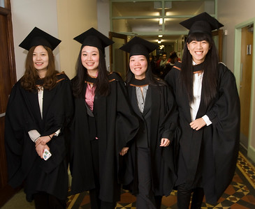 "4/1/2012. News. Waterford Institute of Technology (WIT), conferring ceremony. From Left,  Shou Liang, Jingshu Guan, Yagi Wan, Chen Zhang all from China, graduated Bachelor of Arts (Honors) in Accounting. Photo Patrick Browne  Upbeat mood at WIT's conferring ceremonies  An optimistic note has been signaled by Mr Tony McFeely, Acting President of Waterford Institute of Technology (WIT), at the first of 11 conferring ceremonies across three days during which 2,652 students were conferred with academic degrees up to doctorate level.  In his conferring address, Mr McFeely said: ""We cannot ignore the dark economic clouds that have surrounded the country for the past few years. Job opportunities are not as readily available as they once were. However, your academic achievements should instill a sense of self-confidence. I would encourage you to remain positive and optimistic despite the general gloom. These times will pass; they always do.""  ""We Irish are a resilient people; you are the potential leaders of the future so it's incumbent on you to remain strong and positive,"" continued Mr McFeely. He urged today's graduates to remember the words of Apple founder Steve Jobs at a Stanford graduation in 2005: ""Your time is limited, so don't waste it living someone else's life. Don't be trapped by dogma, which is living with the results of other people's thinking. Don't let the noise of others' opinions drown out your own inner voice. And most important, have the courage to follow your heart and intuition.""  WIT's Chairman, Dr Donie Ormonde, continued the positive theme in his remarks: ""In the modern economy skills and competencies are the tradable commodities that enhance your life experiences and enhance the creative edge of economic and social development. Ireland's capacity to bounce back is directly related to the education and skills infrastructure that it has built. Ireland is an international leader in educational attainment and it is this that will provide the stepping stone to recovery.""  Thirteen PhD students were awarded doctorates and six new programmes were conferred for the first time, including the Bachelor of Arts (Honours), Bachelor of Science (Honours) in Airline Transport Operations, Bachelor of Science in Food Science with Business and Higher Certificates in Arts in Hospitality Studies, Business in Tourism and Culinary Arts.  Of the total 2,652 graduates being conferred with academic awards up to doctorate level, 1,044 are from Waterford City and County. However, WIT graduates hail from all 26 counties of Ireland with Wexford (338), Kilkenny (282), Tipperary (217), and Cork (102) being the next most frequent home addresses.  The strength of WIT's academic portfolio and research capacity was reflected in the President's closing remarks when he urged all graduates to give their support to the Institute in achieving its ultimate goal – becoming the Technological University of the South East, a goal to which the current Government has stated its commitment.   Ends"