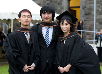 "4/1/2012. News. Waterford Institute of Technology (WIT), conferring ceremony. From Left, Chuanzhi Huang, Jirui Zhang, Shou Wang all from China, graduated Bachelor of Arts (Honors) in Accounting. Photo Patrick Browne  Upbeat mood at WIT's conferring ceremonies  An optimistic note has been signaled by Mr Tony McFeely, Acting President of Waterford Institute of Technology (WIT), at the first of 11 conferring ceremonies across three days during which 2,652 students were conferred with academic degrees up to doctorate level.  In his conferring address, Mr McFeely said: ""We cannot ignore the dark economic clouds that have surrounded the country for the past few years. Job opportunities are not as readily available as they once were. However, your academic achievements should instill a sense of self-confidence. I would encourage you to remain positive and optimistic despite the general gloom. These times will pass; they always do.""  ""We Irish are a resilient people; you are the potential leaders of the future so it's incumbent on you to remain strong and positive,"" continued Mr McFeely. He urged today's graduates to remember the words of Apple founder Steve Jobs at a Stanford graduation in 2005: ""Your time is limited, so don't waste it living someone else's life. Don't be trapped by dogma, which is living with the results of other people's thinking. Don't let the noise of others' opinions drown out your own inner voice. And most important, have the courage to follow your heart and intuition.""  WIT's Chairman, Dr Donie Ormonde, continued the positive theme in his remarks: ""In the modern economy skills and competencies are the tradable commodities that enhance your life experiences and enhance the creative edge of economic and social development. Ireland's capacity to bounce back is directly related to the education and skills infrastructure that it has built. Ireland is an international leader in educational attainment and it is this that will provide the stepping stone to recovery.""  Thirteen PhD students were awarded doctorates and six new programmes were conferred for the first time, including the Bachelor of Arts (Honours), Bachelor of Science (Honours) in Airline Transport Operations, Bachelor of Science in Food Science with Business and Higher Certificates in Arts in Hospitality Studies, Business in Tourism and Culinary Arts.  Of the total 2,652 graduates being conferred with academic awards up to doctorate level, 1,044 are from Waterford City and County. However, WIT graduates hail from all 26 counties of Ireland with Wexford (338), Kilkenny (282), Tipperary (217), and Cork (102) being the next most frequent home addresses.  The strength of WIT's academic portfolio and research capacity was reflected in the President's closing remarks when he urged all graduates to give their support to the Institute in achieving its ultimate goal – becoming the Technological University of the South East, a goal to which the current Government has stated its commitment.   Ends"