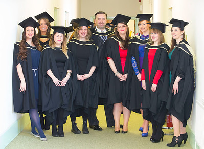 06/01/2015. FREE TO USE IMAGE. WIT (Waterford Institute of Technology) Conferring, Pictured are Heather Haskins, Los Angels USA, Jennifer Marshal, Cork, Sandra Kelly, Laois, Denise Kienzle, Waterford, Kerry Mullaly, Thomastown, Co. Kilkenny, Úna Kavanagh, Wexford, Jayne Anne Sutcliffe, Clonmel,Michelle O'Brien, Piltown, Co Kilkenny and  Joanne Tuohy, Kerry who who graduated Master of Arts in Arts and Heritage Management. Picture: Patrick Browne. Picture: Patrick Browne