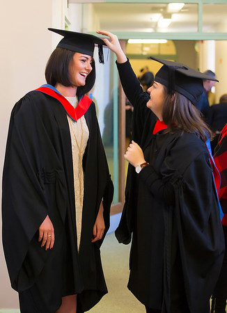 02/11/2016. Waterford Institute of Technology (WIT) Conferring Ceremonies November 2016:  Pictured are Megan McCullough from Carrigaline, Cork and Hannah Fagan, Newbridge, Co. Kildare graduates who Graduated B.A. (Hons) in applied Social Studies in Social Care. Picture: Patrick Browne    Graduates of 2016 are well prepared for an exciting work environment with new industries, having completed their studies in an intellectually open, creative and innovative educational community thanks to the multicultural community at WIT. Just over 2,400 students will be conferred with academic degrees up to doctorate level in 11 conferring ceremonies across three days, from Wednesday, 2 November, 2016.