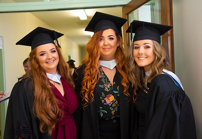 1/11/2017 Waterford Institute of Technology conferring ceremony. Batchelor of Arts in Applied Social Studies in Social Care. From left; Liadan Phelan Clonmel, Carrie Odham Wexford and Jessica Power Waterford.Photo;Mary Browne