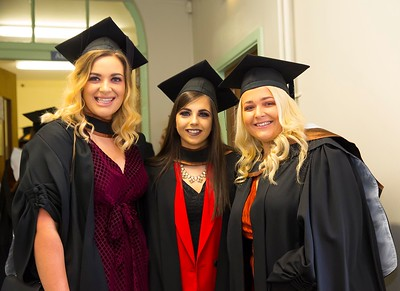 1/11/2017 Waterford Institute of Technology conferring ceremony. Graduating with a Batchelor of Arts (Honours) in Applied Social Studies in Social Care. From left; Grace O'Riordan Mallow Co.Cork, Ciara Sexton Mallow, Co.Corl and Shauna Menton, Gorey, Co.Wexford.Photo;Mary Browne
