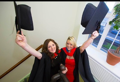 Waterford Institute Of Technology Conferring. Pictured at WIT Waterford Institute Of Technology Conferring are Tanya Kane, Laois and Siobhan O'Grady, Kilkenny who graduated Higher Cert in Business in Hospitality. Picture: Patrick Browne