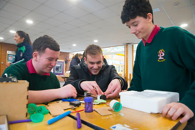 Pictured at WIT (Waterford Institute of Technology) at Engineers Week are Ross Wilmott, Lucas Stasiulevicius and Jack Mullins from St. Pauls Community College, Waterford City. Picture: Patrick Browne
