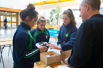 Pictured at WIT (Waterford Institute of Technology) at Engineers Week are Shannon Wall, Amiee Flemming and Meave Ryan from SSt. Marys Secondary School, New Ross with Ian Watts form The University of Brighton. Picture: Patrick Browne