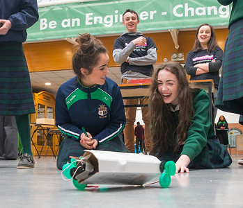 "02/03/2016. FREE TO USE IMAGE. Engineers Week at WIT (Waterford Institute of Technology). Pictured during ""Robot Wars"" are Meave Ryan and Emily Phelan from St. Marys Secondary School, New Ross, Co. Wexford. Picture: Patrick Browne"