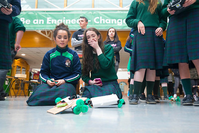 "Pictured at WIT (Waterford Institute of Technology) at Engineers Week, Pictured during ""Robot Wars"" are Meave Ryan and Emily Phelan from St. Marys Secondary School. Picture: Patrick Browne"