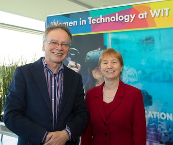 8/3/2018 Image Free to Use Waterford Institute of Technology celebrate international women's day. Be brave in the choices you make – secondary school students hear on International Women's Day  Willie Donnelly WIT president and Regina Moran Fujitsu Ltd speaker.Photo;Mary Browne