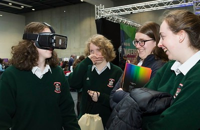"8/3/2018 Image Free to Use Waterford Institute of Technology celebrate international women's day. Be brave in the choices you make – secondary school students hear on International Women's Day  From left; Jessica Gaynor ,Meave Holohan, Rebecca Doyle ,Siobhan O'Mara from Scoil Mhuire Carrick On Suir.Photo;Mary Browne Be brave in the choices you make – secondary school students hear on International Women's Day  For immediate release Hundreds of female secondary school students were inspired by the career path of Women in Technology keynote speaker Regina Moran, Vice President of Transformation, EMEIA, Fujitsu on International Women's Day in Waterford.  The event was co-ordinated by lecturers from Waterford Institute of Technology and featured 10 female speakers telling their personal stories.  Moran told the audience how it's important to be adaptable to change – she changed roles at least 30 times, lived through recessions and boom times, layoff and hirings, had been promoted and demoted – and survived.  ""I have had and still intend to have an amazing career but way back in the 1980s it began here in this college and for that I will always be grateful,"" she said.  ""I chose to do engineering back when it was an unusual choice for a girl. It opened up a world of possibilities. The road less travelled led to becoming CEO of Fujitsu in Ireland for 10 years and last May I became CEO of Fujitsu UK and Ireland, an amazing role. I have just recently taken on a European wide role.""  Speakers and representatives from 30 companies showcased technology careers to young women this International Women's Day in Waterford. Hundreds of second-level students from across the south east region – Gorey, Enniscorthy, Fermoy, Kilkenny, Carrick-on-Suir, Waterford city – descended on the Women in Technology event on International Women's Day 2018 at the WIT Arena which has been organised by lecturing staff in physics, engineering, architecture and computi"