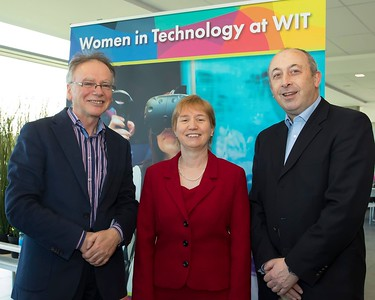 8/3/2018 Image Free to Use Waterford Institute of Technology celebrate international women's day. Be brave in the choices you make – secondary school students hear on International Women's Day  Willie Donnelly WIT president, Regina Moran Fujitsu Ltd speaker and Padraig Kirwan WIT.Photo;Mary Browne