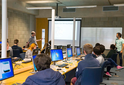WIT Summer Camp. Students who will be sitting the Leaving Cert in June 2017 get to grips with the Internet of Things at Waterford Institute of Technology's HEA-funded summer camp for 5th year students which ran over four days from Tuesday, 7 June to Friday, 10 June. The range of disciplines students got to try out include: 3D Animation, Build a computer workshop, Coding, Internet of Things, Audio and Video Development, Web Development, Games Development and Virtual Reality. Picture: Patrick Browne    Last year WIT added an Internet of Things 4-year Level 8 course to its suite of undergraduate Computing courses. See www.wit.ie/cao.