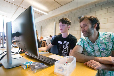 "FREE TO USE IMAGE. WIT Summer Camp. Pictured at WIT Waterford Institute of Technology at the ""Internet of Things"" workshop is Frank Walsh, School of Science & Computing and Sean Freeman Waterford. Picture: Patrick Browne   Students who will be sitting the Leaving Cert in June 2017 get to grips with the Internet of Things at Waterford Institute of Technology's HEA-funded summer camp for 5th year students which ran over four days from Tuesday, 7 June to Friday, 10 June. The range of disciplines students got to try out include: 3D Animation, Build a computer workshop, Coding, Internet of Things, Audio and Video Development, Web Development, Games Development and Virtual Reality.  Last year WIT added an Internet of Things 4-year Level 8 course to its suite of undergraduate Computing courses. See www.wit.ie/cao."