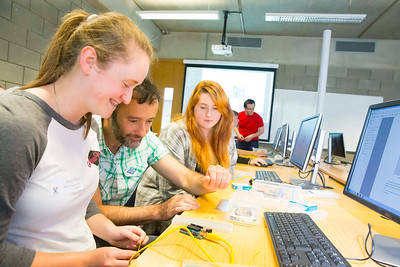 "FREE TO USE IMAGE. WIT Summer Camp. Pictured at WIT Waterford Institute of Technology at the ""Internet of Things"" workshop is Frank Walsh, School of Science & Computing and Erin Whitty and Catherine Gleeson from Waterford. Picture: Patrick Browne   Students who will be sitting the Leaving Cert in June 2017 get to grips with the Internet of Things at Waterford Institute of Technology's HEA-funded summer camp for 5th year students which ran over four days from Tuesday, 7 June to Friday, 10 June. The range of disciplines students got to try out include: 3D Animation, Build a computer workshop, Coding, Internet of Things, Audio and Video Development, Web Development, Games Development and Virtual Reality.  Last year WIT added an Internet of Things 4-year Level 8 course to its suite of undergraduate Computing courses. See www.wit.ie/cao."
