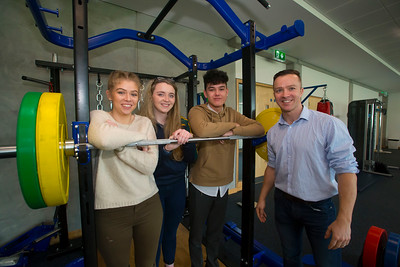 20/01/2017.  Waterford Institute of Technology (WIT) open day at WIT Arena. Pictured are Madison Parle and Emma Lomasney from Loreto Secondary School, Fermoy and Gawat Chu from Waterpark College Waterford with Bruce Wardrop from WIT. Picture: Patrick Browne