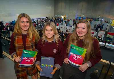 20/01/2017.  Waterford Institute of Technology (WIT) open day at WIT Arena. Pictured are Marie Keane, Hannah Gourlay and Katie Foran from St Declans Community College Kilmacthomas. Picture: Patrick Browne  With the traditional CAO deadline of 1 February fast approaching Waterford Institute of Technology (WIT) ran two open days at the €20m WIT Arena on its West Campus which opened in recent months. The Schools' Open Day on Friday, 20 January attracted secondary students and teachers from across the country. The #StudyatWIT Open Day on Saturday, 21 January was designed to give information for all prospective students and their families with information available on student supports from part-time and postgraduate courses to the institute's 70 CAO courses. Find out more at cao.wit.ie.