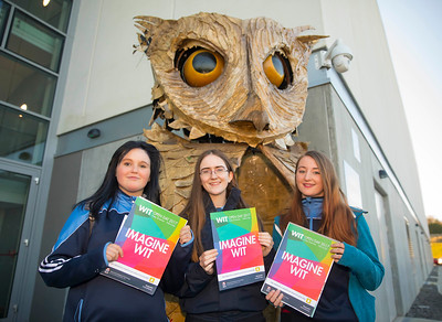 20/01/2017.  Waterford Institute of Technology (WIT) open day at WIT Arena. Pictured are Amy Barry, Siobhan McGrath and Niamh Whelan from Ramsgrange Community School. Picture: Patrick Browne  With the traditional CAO deadline of 1 February fast approaching Waterford Institute of Technology (WIT) ran two open days at the €20m WIT Arena on its West Campus which opened in recent months. The Schools' Open Day on Friday, 20 January attracted secondary students and teachers from across the country. The #StudyatWIT Open Day on Saturday, 21 January was designed to give information for all prospective students and their families with information available on student supports from part-time and postgraduate courses to the institute's 70 CAO courses. Find out more at cao.wit.ie.