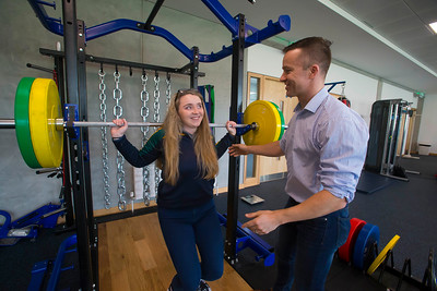20/01/2017.  Waterford Institute of Technology (WIT) open day at WIT Arena. Pictured is Emma Lomasney from Loreto Secondary School, Fermoy and  Bruce Wardrop from WIT. Picture: Patrick Browne