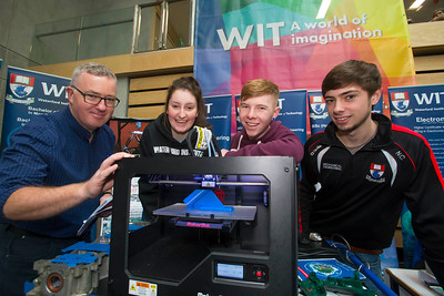 20/01/2017.  Waterford Institute of Technology (WIT) open day at WIT Arena. Pictured are Ned Cullinane WIT, Louise Wella, Daniel Hutchinson, Nigel Curran. Picture: Patrick Browne
