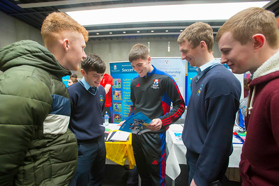 20/01/2017.  Waterford Institute of Technology (WIT) open day at WIT Arena. Pictured are Jamie Houlihan, Adam Nugent, Michael Whelan of WIT, James Kirby and Patrick Hahessy from Carrick on Suir. Picture: Patrick Browne