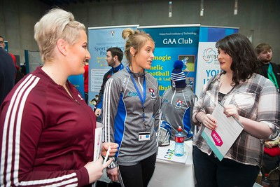 20/01/2017.  Waterford Institute of Technology (WIT) open day at WIT Arena. Pictured are Tegan Hurley Dunmanway, Cork, Katie Redmond WIT and Marie McCarthy, Dunmanway, Cork. Picture: Patrick Browne