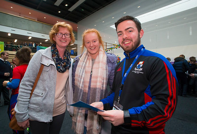 20/01/2017.  Waterford Institute of Technology (WIT) open day at WIT Arena. Pictured are Sarah O'Connor and Rita Conway - O'Connor Millstreet, Co. Cork with Alan Malone WIT. Picture: Patrick Browne