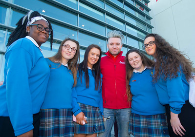 20/01/2017.  Waterford Institute of Technology (WIT) open day at WIT Arena. Pictured are Olivia Ekedozie, Brianna Sinnott, Chloe Cunningham, Darren Rice of Beat FM, Michelle Brophy and Aimee Phelan of Mercy Secondary School Waterford. Picture: Patrick Browne  With the traditional CAO deadline of 1 February fast approaching Waterford Institute of Technology (WIT) ran two open days at the €20m WIT Arena on its West Campus which opened in recent months. The Schools' Open Day on Friday, 20 January attracted secondary students and teachers from across the country. The #StudyatWIT Open Day on Saturday, 21 January was designed to give information for all prospective students and their families with information available on student supports from part-time and postgraduate courses to the institute's 70 CAO courses. Find out more at cao.wit.ie.