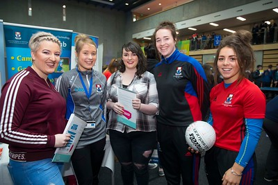 20/01/2017.  Waterford Institute of Technology (WIT) open day at WIT Arena. Pictured are Tegan Hurley Dunmanway, Cork, Katie Redmond WIT, Marie McCarthy, Dunmanway, Cork, Denise Gaule WIT and Megan Farrell of WIT. Picture: Patrick Browne