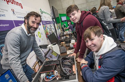 Frank Walsh, lecturer with Dylan Geoghegan and Sam Hodgekinson, Colaiste Chill Mhantain, Wicklow during the Waterford Institute of Technology Schools' Open Day at the WIT Arena. On Saturday, 20 January, WIT is running another open day, the #StudyatWIT Open Day which will have information available on all courses available across WIT's schools of Lifelong Learning, Humanities, Engineering, Science & Computing, Health Sciences, Business. Picture: Pat Moore