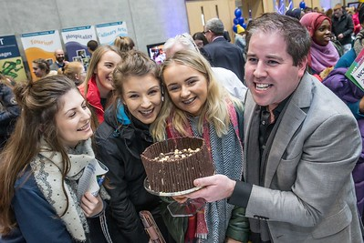 Edward hayden gives Shannon Cleere, Colaiste Mhuire, Johnstown a birthday cake during the Waterford Institute of Technology Schools' Open Day at the WIT Arena. On Saturday, 20 January, WIT is running another open day, the #StudyatWIT Open Day which will have information available on all courses available across WIT's schools of Lifelong Learning, Humanities, Engineering, Science & Computing, Health Sciences, Business. Picture: Pat Moore