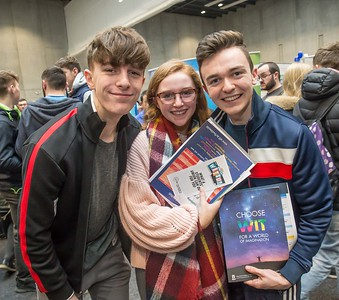 Kieran Organ, De la Salle, Waterford, Susan Boyce, Urseline Waterford and Conor Power, De la Salle, Waterford during the Waterford Institute of Technology Schools' Open Day at the WIT Arena. On Saturday, 20 January, WIT is running another open day, the #StudyatWIT Open Day which will have information available on all courses available across WIT's schools of Lifelong Learning, Humanities, Engineering, Science & Computing, Health Sciences, Business. Picture: Pat Moore