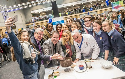 Pupils from Kilkenny nand Waterford taking a selfie with Edward Hayden, Tony Barry and Ray Cullen, WIT during the Waterford Institute of Technology Schools' Open Day at the WIT Arena. On Saturday, 20 January, WIT is running another open day, the #StudyatWIT Open Day which will have information available on all courses available across WIT's schools of Lifelong Learning, Humanities, Engineering, Science & Computing, Health Sciences, Business. Picture: Pat Moore