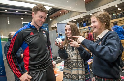 Austin Deasy, Waterford pictured with Charlie Tobin and Ciara Prendergast, Presentation Secondary School, Kilkenny during the Waterford Institute of Technology Schools' Open Day at the WIT Arena. On Saturday, 20 January, WIT is running another open day, the #StudyatWIT Open Day which will have information available on all courses available across WIT's schools of Lifelong Learning, Humanities, Engineering, Science & Computing, Health Sciences, Business. Picture: Pat Moore