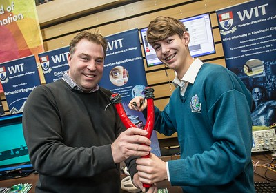 Fergal O'Hanlon, tutor and Eamon Swanson, Ardscoil na Mara, Tramore during the Waterford Institute of Technology Schools' Open Day at the WIT Arena. On Saturday, 20 January, WIT is running another open day, the #StudyatWIT Open Day which will have information available on all courses available across WIT's schools of Lifelong Learning, Humanities, Engineering, Science & Computing, Health Sciences, Business. Picture: Pat Moore