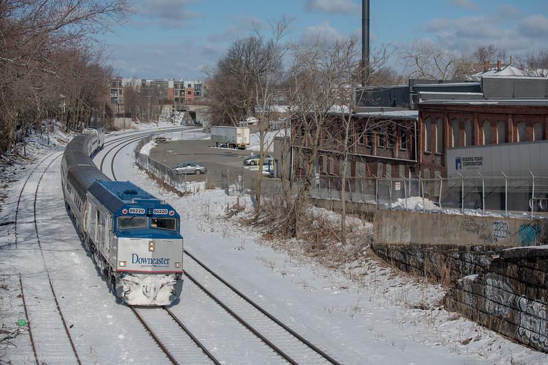 Amtrak Downeaster 690 passes throught Somerville Jct on Lowell line.