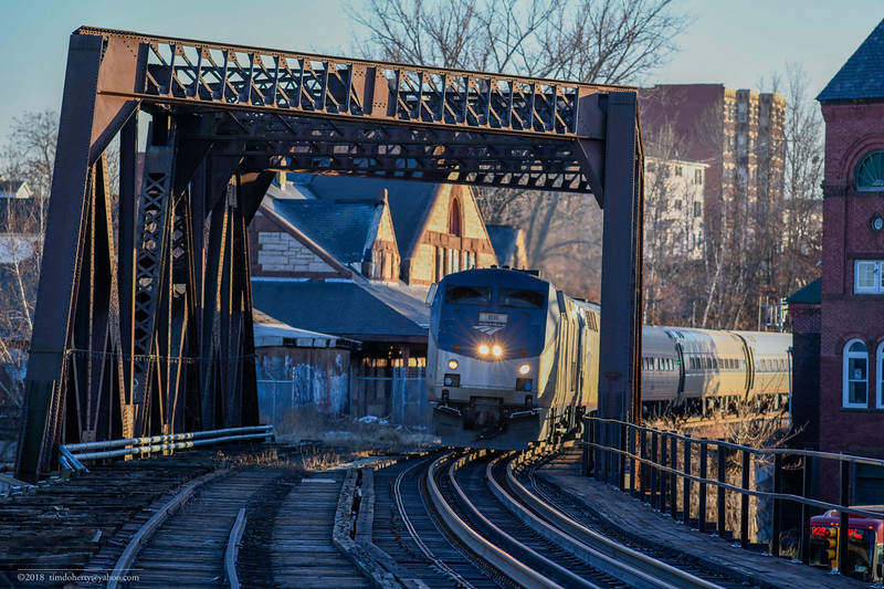 Amtrak train 56 passes by the former Holyoke Station on the Conn River Line.