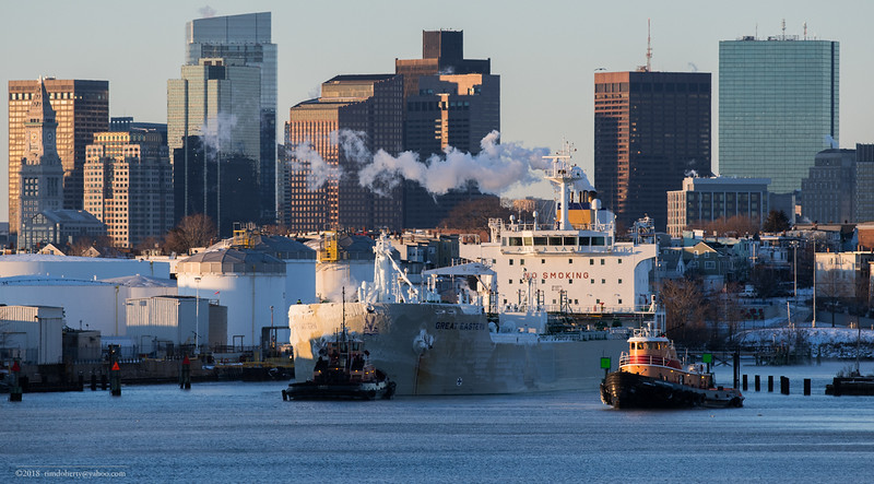 The tanker Great Eastern heads up Chelsea Creek towards the Global Terminal in Revere.