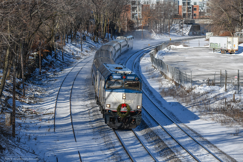 The second Downeaster to Boston in 2018 passes Somerville Jct on the Lowell Line.