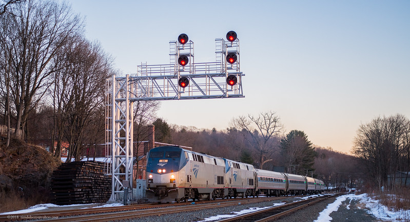 The northbound Vermotner passing through CPF 385 in Greenfield late in the afternoon of  January 26, 2018.