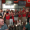 Singing the fight song.