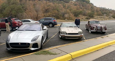 At the rendezvous at the mouth of Big Cottonwood Canyon.  Left to right: Furner F-type SVR, Borg XJS, Lindstrom XK140 DHC.