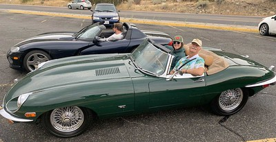 John Lay, daughter Katie in the E-type, with son Geoff and friend Jennifer in the Viper.