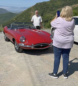 Susan executing a photo op for Jim Klekas and his lovely e-type. As can be seen in the background the Salt Lake Valley air was mostly clear of the horrible smoke that had plagued us in recent days.